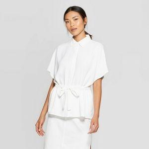 Prologue White Waist Tie Blouse